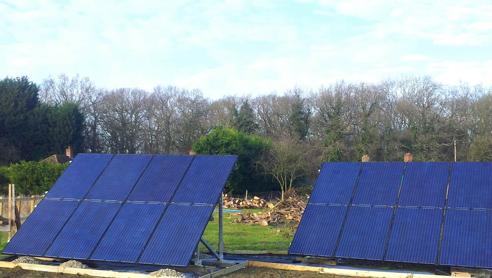 Solar farm near Cambridge generating large amount of electricity for the houses nearby