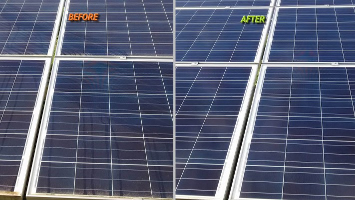 Solar panel cleaning services before and after compare