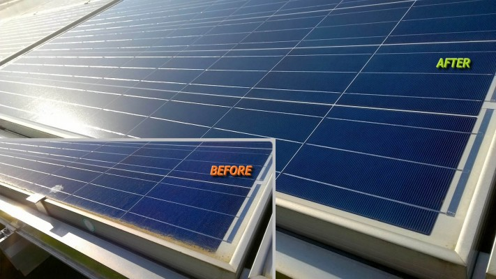 Large solar panel before and after cleaning services