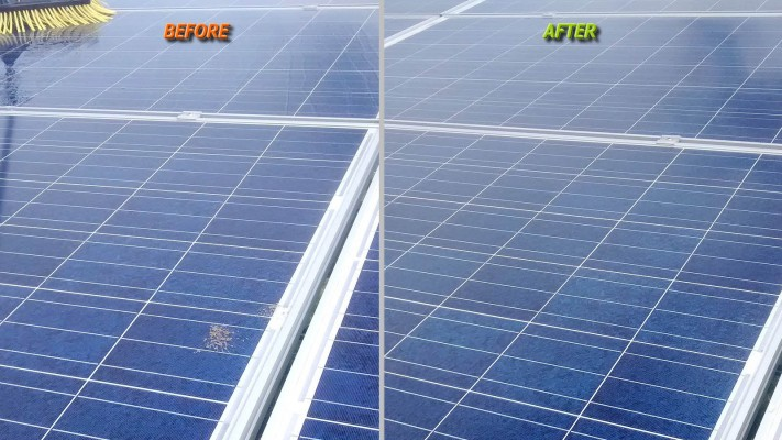 A dirty solar panel compared to a clean one post cleaning by Green Solar World