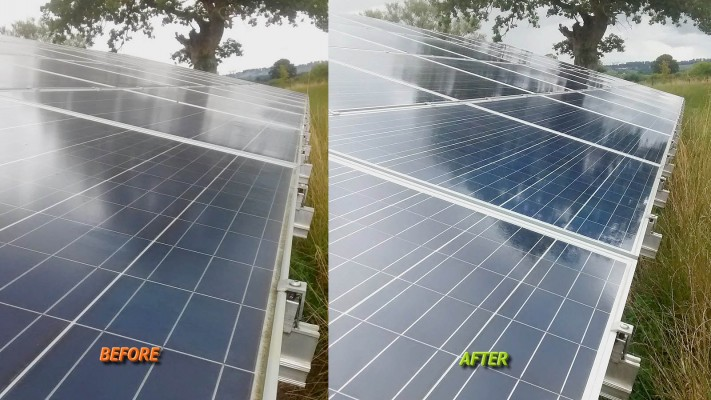 Shining solar panel working at full capacity on a solar farm near Cambridge
