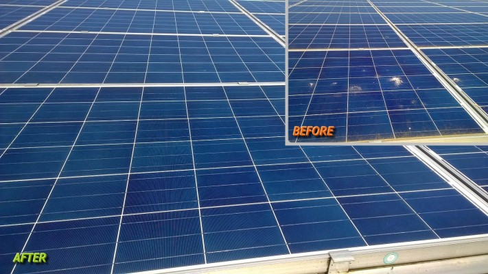 Very dirty solar panel before and after cleaning
