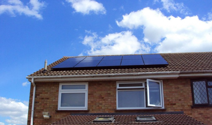 Ten solar panels generating enough electricity for a medium-size family in a Cambridge semi-detached house