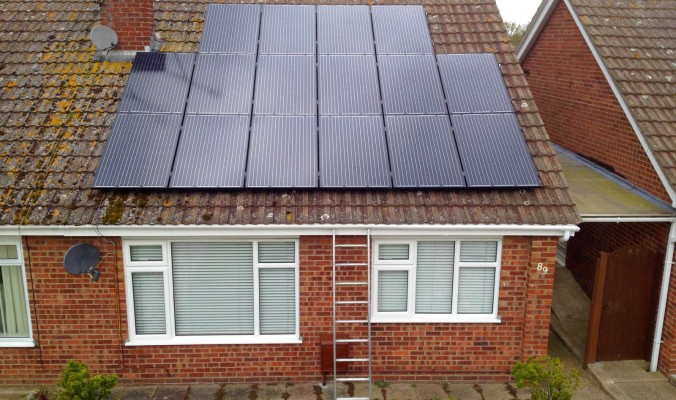 Just finished solar panels installation over a bungalow house near Cambridge