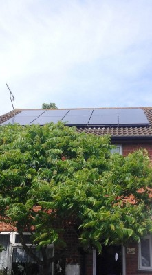 Cloudy day and still enough energy from a set of solar panels installed by Green Solar Wolrd in Cambridge